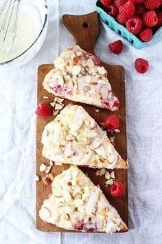 Raspberry Almond Scone Recipe on twopeasandtheirpod.com These scones are amazing!