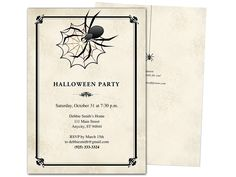 widow halloween party invitation template