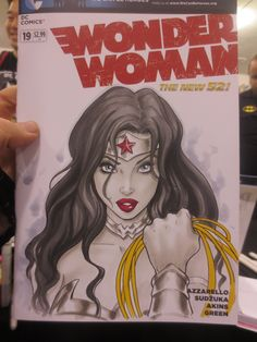 Here is an early sneak peak at a custom cover Dawn did for a fan at a recent convention.  Wonder Woman New 52 No. 19 Blank Variant Cover. Wonder Woman character is copyrighted by DC Comics. Posted 6/4/12