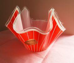 Cordon Handkerchief Chance Glass Orange  by VintageGlassHouses, £21.50