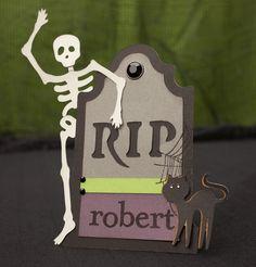 How to create a spooky headstone name plate using the Cricut® Artiste cartridge. #CTMH