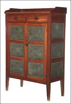 Pie Safe, Southwestern Ohio, mid 19th century.  Cherry and poplar, 58 H. x 40 W. x 17.25 D. doors, auction, pie safe, farms, 19th century, drawers, families, cherries, antiques