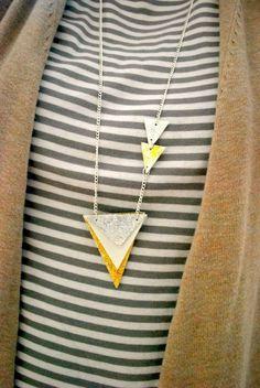 Mod Podge Glittered Geometric Necklace DIY