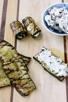 Greek Recipes - Grilled Zucchini Roll Recipe with Herbed Goat Cheese & Kalamata Olives -1 very large or 3 small zucchini  Olive oil  Kosher salt  Freshly ground black pepper  3 1/2 oz. herbed goat cheese  1 1/2 oz. (about 7 or  kalamata olives, finely chopped