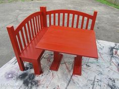 DIY Kids Corner Bench (banquette) made from an upcycled crib.