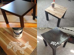 Ikea side table up-cycle: use wood glue to attach pine wood slats, sand, stain (I stained three times), paint or stencil design (I used flat white acrylic paint), and finish with polyurethane protective finish!