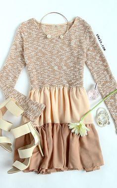 Apricot Long Sleeve Color Block Ruffle Dress