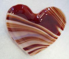 Red VALENTINE Swirled Heart Fused Glass, $12.00