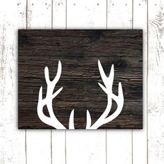 Printable Art, Rustic Deer Antler Print, Wood Sign Print for Rustic Home Decor, INSTANT DOWNLOAD on Etsy, $5.00