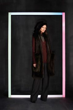 Louis Vuitton Pre-Fall 2014, fur vest, cardigan, wide leg trousers