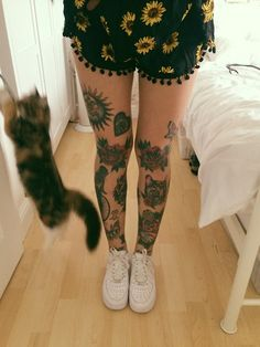 Leg tattoos? TIghts? Not sleeves? Pants? idk