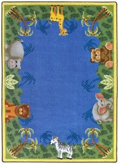 Cute animal rug with some blue