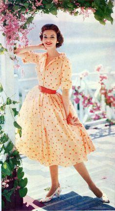 orange polka dot vintage dress-love