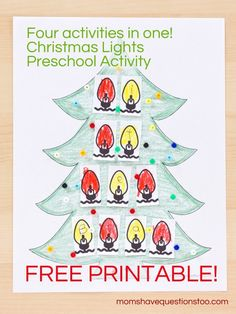 Christmas Lights Preschool Activity -- patterning, name practice, and cutting practice all in one.