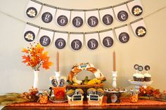 Lovely Thanksgiving party.  See more party ideas at CatchMyParty.com.  #thanksgivingpartyideas