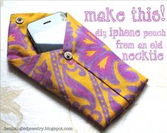 make a necktie pouch, iphone ipod case, upcycled necktie craft