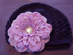 Chemo Purple Knit Hat with Lavendar Peony $8.00