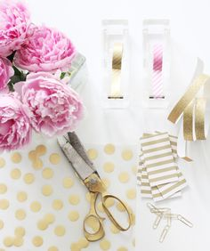 pink & gold desk space