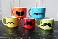 Looking for a fun and easy gift idea? Check out these colorful mustache mugs from Crafts by Amanda!