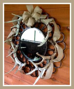 Hunting Decor Lodge Decor Country Wreath by Southernbyjules, $219.00 mirror mirror, antler, welding projects, countri wreath, country wreath, decor countri, country hunting decor, hunt decor, lodge decor