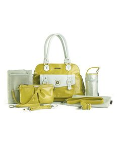 This Yellow & White Sophia Diaper Bag by timi & leslie is perfect! #zulilyfinds