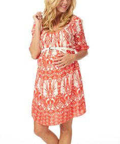 Red & White Damask Belted Maternity Scoop Neck Dress #zulilyfinds