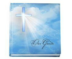 "Personalized Guest Books Spiritual Hardcover Guest book - Heaven 8""x 8"""