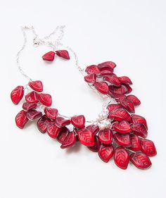 Red Statement Necklace Bridal Necklace by CherylParrottJewelry, $134.95