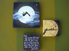 "Awesome for children's room - moon glows in the dark!!  Peter Pan Set of 3 Canvas Paintings, ""You know the place between sleep and awake"" J.M. Barrie Quote, Peter Pan Clock Tower, Peter Pan Moon. $115.00, via Etsy."