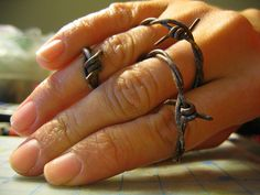 Polymer Clay Faux Barbed Wire Tutorial by meeellla, via Flickr