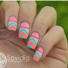 nail colors, summer nails, gel nails, tribal nails, nail ideas, nail art