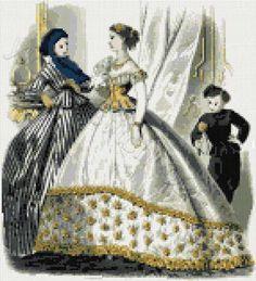 Victorian fashion No1 cross stitch kit or pattern