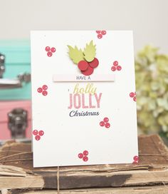 Holly Jolly Christmas Card by Ashley Cannon Newell for Papertrey Ink (July 2014)