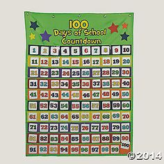 101 Pc. 100th Day of School Countdown Pocket Chart