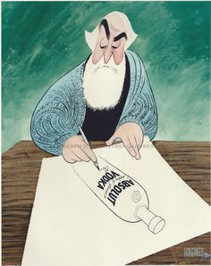 """Self Portrait - Hirschfeld Draws For Absolut:  Hand signed by Al Hirschfeld  Limited-Edition Lithograph  Edition Size: 130.  24"""" x 19"""""""