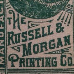 Russell & Morgan has won my heart over time and time again.  This Cincinnati co. made great things and will forever be my typographic valentine.  #typehunter #typeresearch #vintagetype #ohioquality
