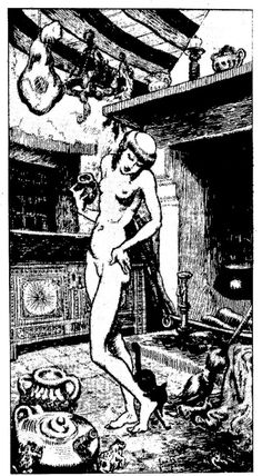 Magick Wicca Witch Witchcraft:  An early 1600s illustration of a French #Witch preparing to fly, ointment in hand, from the Museum of Witchcraft in Bayonne, France.