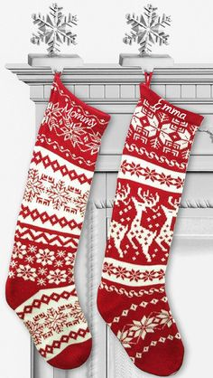 Another totally in the budget option... Knit Christmas Stockings  Red White  Renindeer or by eugenie2, $21.95