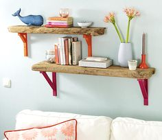 Make a driftwood shelf with one plank of wood and decorative brackets.