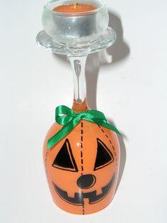 Pumpkin Wine Glass Hand Painted Tea Light Holder.