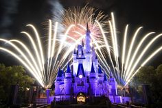 Blue Castle with surrounding fireworks!