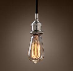 Bare Bulb Filament Pendant Polished Nickel