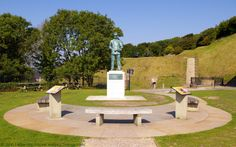 Statue of Admiral Sir Bertram Ramsay and The Stone Map, Dover Castle, Kent, England, UK. Co-ordinator Operation Dynamo, 1940 Little Ships Dunkirk Evacuation. Allied Naval Commander-in-Chief Operation Neptune (Operation Overlord) D-Day, June 6th, 1944, World War II. Memorial garden on edge of the White Cliffs of Dover Castle, unveiled by HRH Duke of Edinburgh in 2000. World War II History and Royal Navy photo. Listed Building and English Heritage site. See: http://www.panoramio.com/photo/57618283