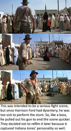 """Indiana Jones fact - So remember, Indiana Jones shot. Period. """"First"""" implies the other guy shot at all."""