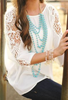 White lace and turquoise accents turquois accent, teen fashion, statement necklaces, outfit, womens lace tops, beads, white lace, turquoise jewelry, shirt