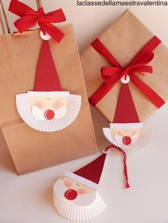 Santa gift wrap and tags; Christmas