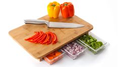 Mocubo A bamboo cutting board for the #kitchen, integrated with three clear drawers. Cool stuff. $39.99