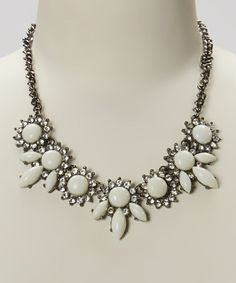 White & Crystal Sunflower Bib Necklace