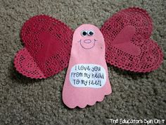 Traced Footprint Love Bug & adorable poem.  (With a few adjustments this would be a cute valentine for the girls to make)