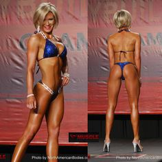 IFBB Bikini Pro Lisa Schimkat looking amazing in a custom Heavy Crystal Design, Royal blue scatter snake fabric with lots and lots of Capri Blue Swarovski Crystals L-66c and S-46c connectors, extra small pro scrunch bottom.